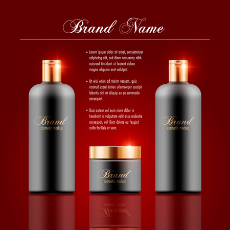 Set of cosmetic products on red background. Packaging template. Vector illustration