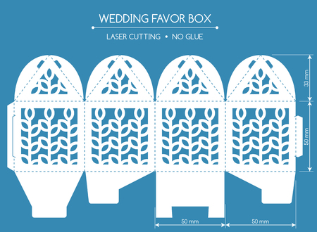 Openwork favor box with a lace ornament. Wedding bonbonniere. Laser cutting Vettoriali