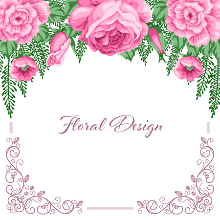 dinner date: Background with flowers and lace frame for wedding invitation, save the date or bridal shower card. Vector Illustration in retro style Illustration