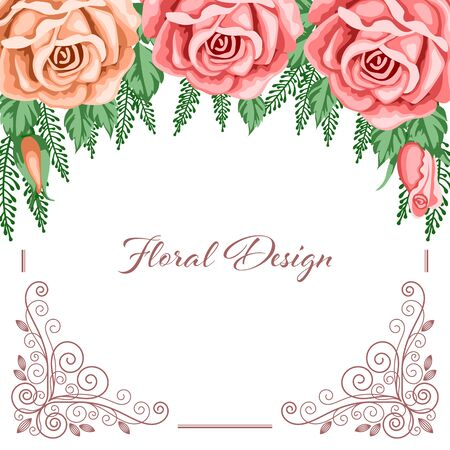 dinner date: Background with flowers and lace frame for wedding invitation or bridal shower card