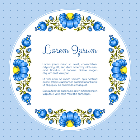 Floral background in ukrainian national style. Petrykivka painting. Vector Illustration Illustration