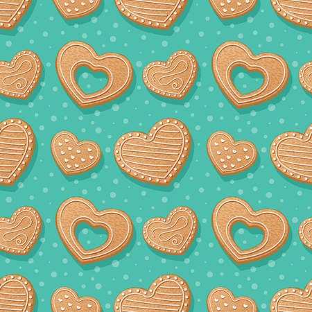 Seamless pattern with gingerbread hearts. Vector Illustration Illustration
