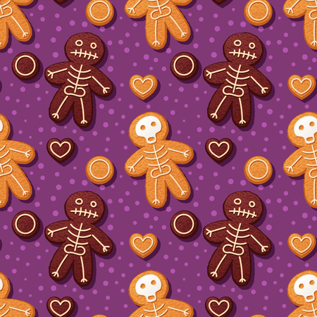 Seamless pattern with gingerbread men. Halloween vector illustration