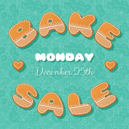 bake sale: Bake sale poster template. Gingerbread letters. Vector Illustration