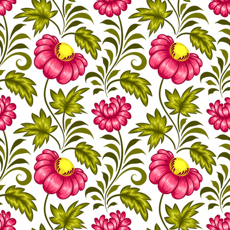 Floral seamless pattern in ukrainian national style. Vector Illustration