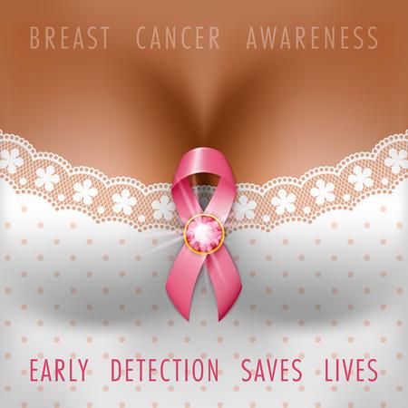 Breast cancer awareness month. Silk pink ribbon on the female bust. Vector Illustration Illustration