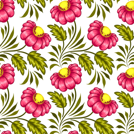Floral seamless pattern in ukrainian national style.