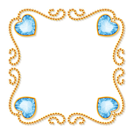 Decorative frame with golden chains and gemstones.