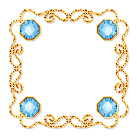 Decorative frame with golden chains and gemstones. Luxury invitation or greeting card template. Vector Illustration.