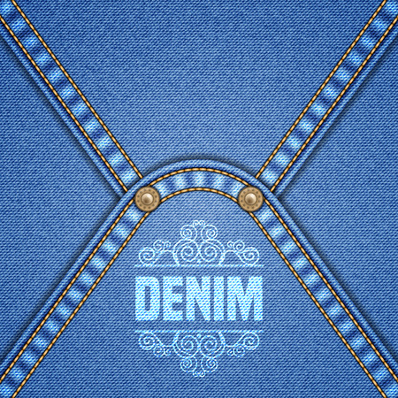 rivets: Denim background with decorative seams and rivets. Vector Illustration.