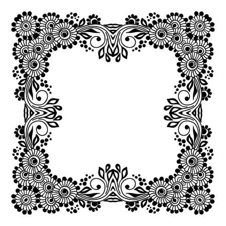 Fond floral dessiné à la main avec place pour le texte. Illustration vectorielle