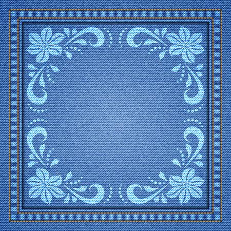 patchwork: Denim background with decorative seams and floral ornament. Vector Illustration Illustration