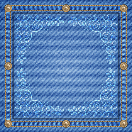 patchwork: Denim background with decorative seams and rivets and floral ornament. Vector Illustration