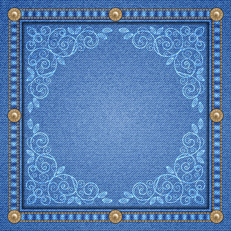 Denim background with decorative seams and rivets and floral ornament. Vector Illustration