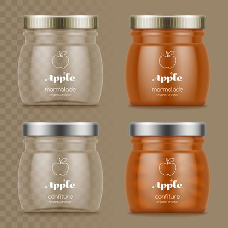 Glazen potten met marmelade en confiture. Lege glaskruiken op transparante achtergrond. Vector illustratie Stock Illustratie