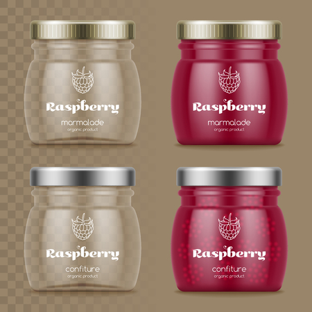 Glass jars with confiture.