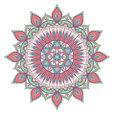 Ethnic ornamental mandala. Decorative design element. Hand drawn vector illustration.