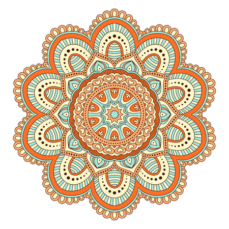 Ethnic ornamental mandala. Decorative design element. Hand drawn vector illustration