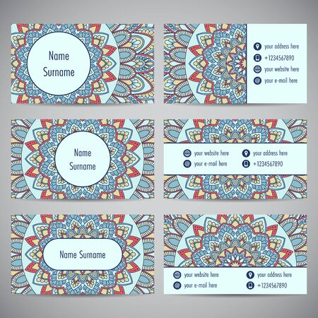 Set of business cards with floral mandala ornaments Vector illustration