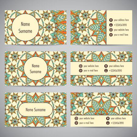 Set of business cards with floral mandala ornaments. Vector illustration Illustration