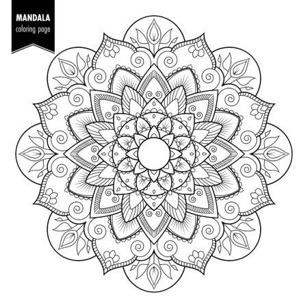 Zwart-wit etnische mandala ontwerp. Antistress kleurplaat voor volwassenen. Hand getrokken vectorillustratie Stock Illustratie
