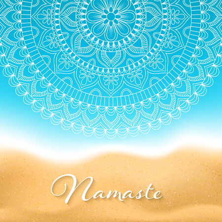 Flyer or brochure template with hand drawn mandala pattern on seashore background. Yoga classes banner. Vector Illustration Çizim