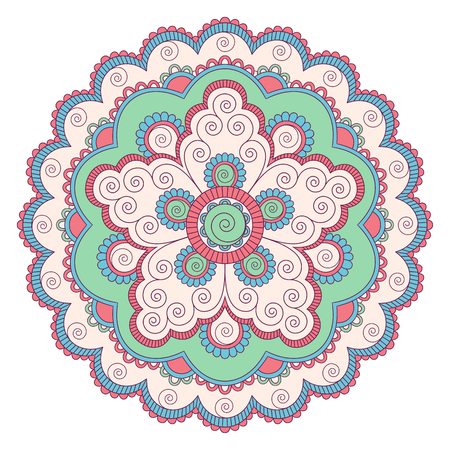 Ethnic ornamental mandala. Decorative design element. Hand drawn illustration.