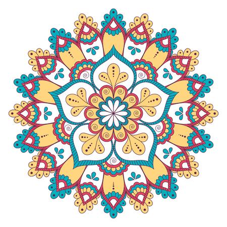Ethnic ornamental mandala. Decorative design element. Hand drawn vector illustration