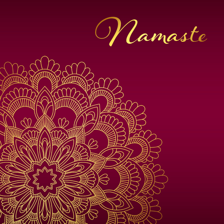 Brochure template with golden mandala pattern, Yoga classes banner in hand drawn  illustration.