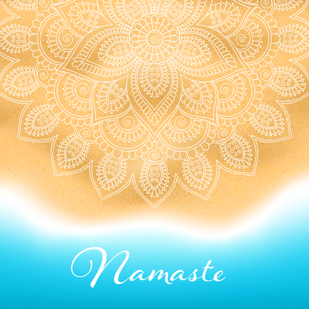 Flyer or brochure template with hand drawn mandala pattern on seashore background. Yoga classes banner. Vector illustration Illustration
