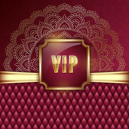 Elegant VIP invitation card with golden ribbons and ethnic mandala ornament. Vector illustration