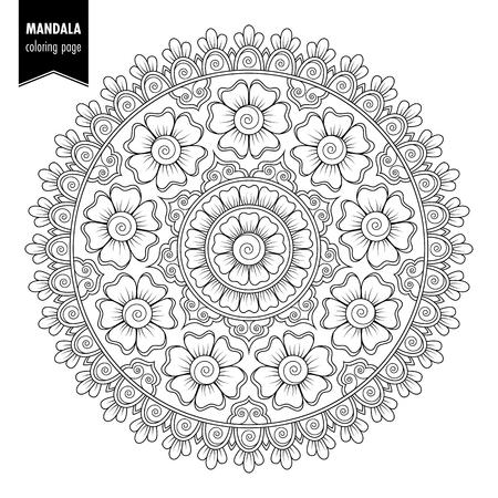Uncolored mandala pattern design. Ilustração