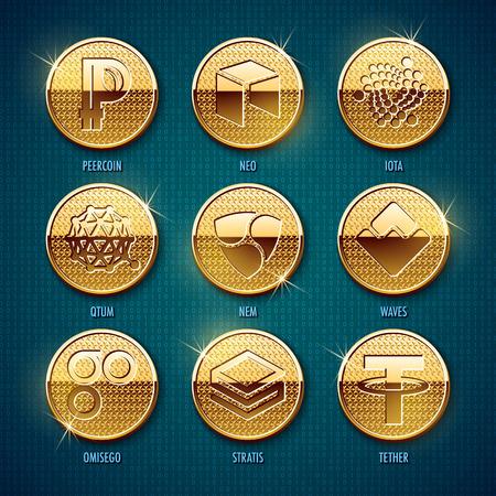 Satz goldene cryptocurrency Münzen. Vektor-Illustration Standard-Bild - 93080033