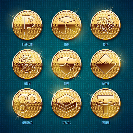 Set of golden cryptocurrency coins. Vector illustration