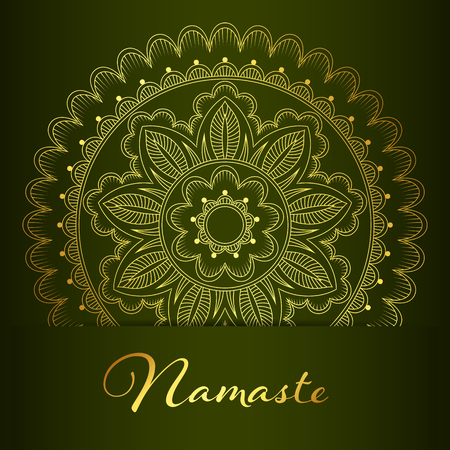Flyer or brochure template with golden mandala pattern. Yoga classes banner. Hand drawn vector illustration.