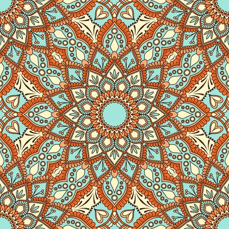 Hand drawn ornamental seamless pattern. Vector Illustration Vettoriali