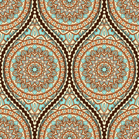 Seamless pattern with ethnic mandala ornament. Hand drawn vector illustration