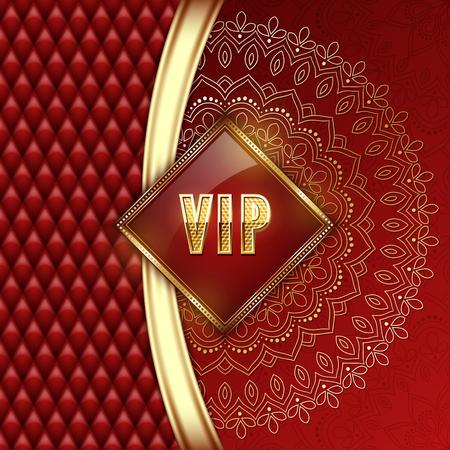 Elegant VIP invitation card with golden ribbons and ethnic mandala ornament. Vector illustration.