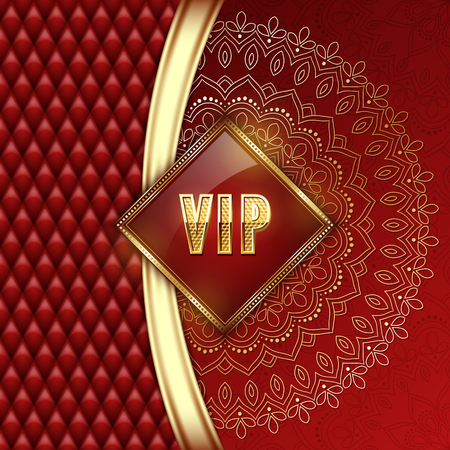 Elegant VIP invitation card with golden ribbons and ethnic mandala ornament. Vector illustration.