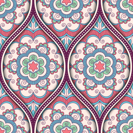 A Seamless pattern with ethnic mandala ornament. Hand drawn vector illustration