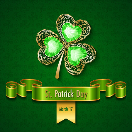 Shamrock jewelry on green ornate background. Saint Patrick's day greeting card, invitation or poster template vector illustration.