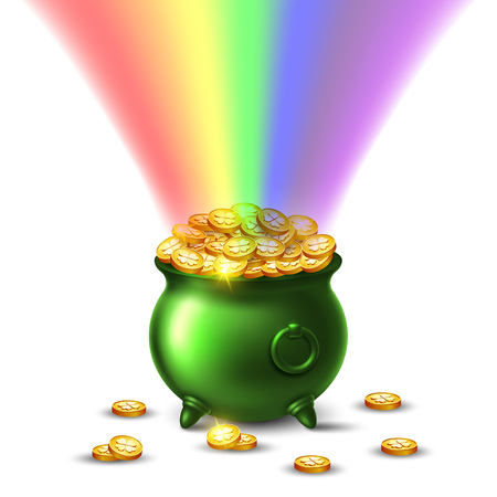 Pot full of golden coins and rainbow.
