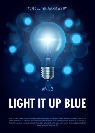 Autism awareness day. Light it up blue Poster, flyer or banner template.