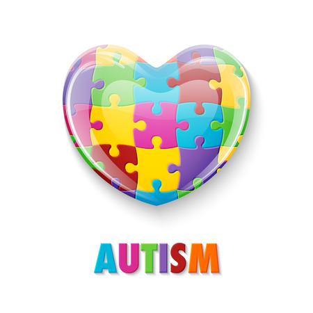 Día Mundial del Autismo. Corazón de cristal colorido hecho de piezas de un rompecabezas. Ilustración de vector