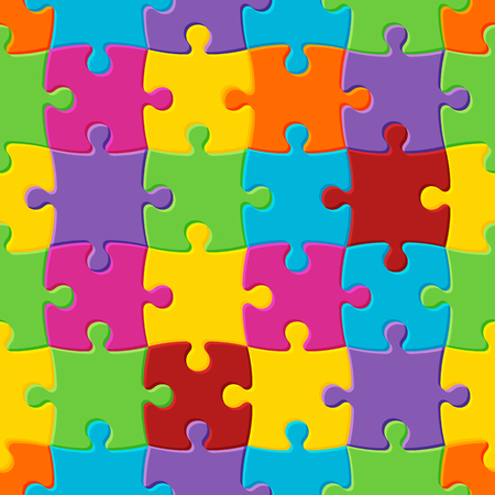 World autism awareness day. Colorful seamless puzzle background. Symbol of autism. Vector Illustration Vectores