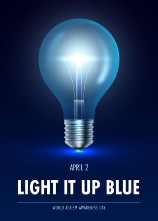 Autism awareness day. Light it up blue. Vector Illustration Illustration