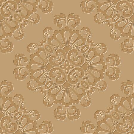 Brown damask seamless pattern wallpaper