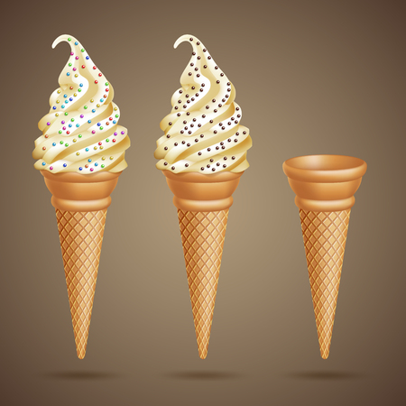 Ice cream cones image illustration Stock Illustratie