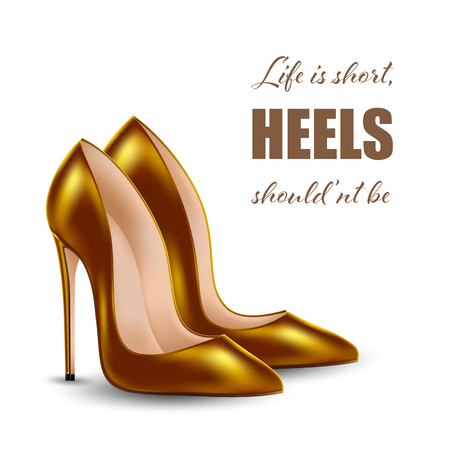 Women's high heel shoes, isolated on white background. Sale banner template. Vector Illustration