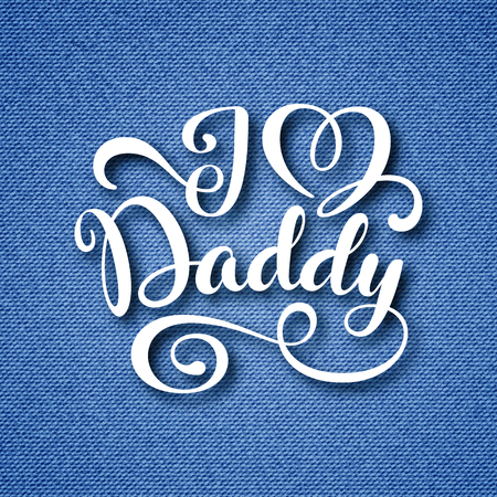 Fathers day greeting card with hand lettering on blue denim background.
